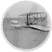 Wilbur Wright Crash Landing In Wright Round Beach Towel