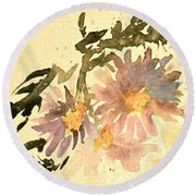 Wild Asters Aged Look Round Beach Towel