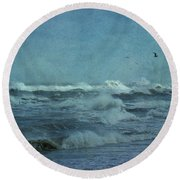 Wild Blue - High Surf - Outer Banks Round Beach Towel