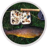 Wild Brown Trout And Fishing Rod Round Beach Towel
