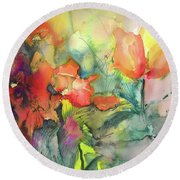 Wild Flowers 05 Round Beach Towel