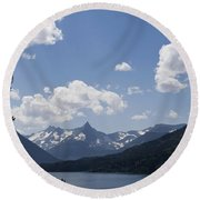 Wild Goose Island Floats In St Mary Lake Round Beach Towel