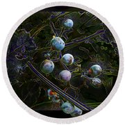 Wild Grapes Abstracted Round Beach Towel