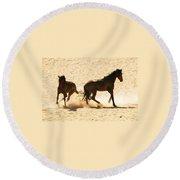 Wild Stallion Clash Round Beach Towel