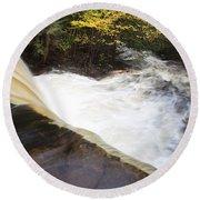 Wilderness Waterfall Autumn Stream Round Beach Towel
