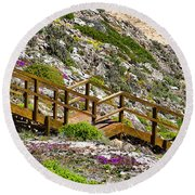 Wildflower Steps Round Beach Towel