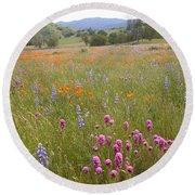Wildflower Wonderland 6 Round Beach Towel