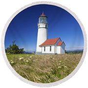 Wildflowers And Cape Blanco Lighthouse Round Beach Towel