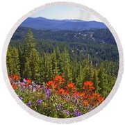 Wildflowers And Mountaintop View Round Beach Towel by Ellen Thane and Photo Researchers