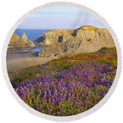 Wildflowers And Rock Formations Along Round Beach Towel