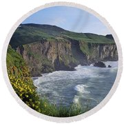 Wildflowers At The Coast, County Round Beach Towel