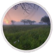 Wildflowers On A Foggy Pasture Round Beach Towel