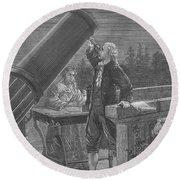 William And Caroline Herschel, German Round Beach Towel