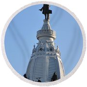 William Penn - On Top Of City Hall Round Beach Towel by Bill Cannon