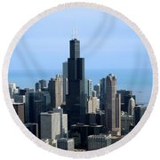 Willis Sears Tower 02 Chicago Round Beach Towel