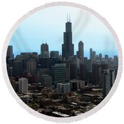 Willis Sears Tower 04 Chicago Round Beach Towel