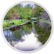 Williston Mill Stream Round Beach Towel