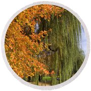 Willow In The Garden Round Beach Towel