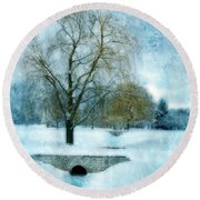 Willow Trees By Stream In Winter Round Beach Towel
