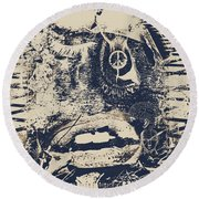 Willy The Smirk Two Round Beach Towel by Empty Wall