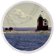Wind At The Light  Round Beach Towel