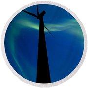 Wind Farm And Northern Lights Round Beach Towel