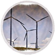 Wind Farm IIi - Impressions Round Beach Towel