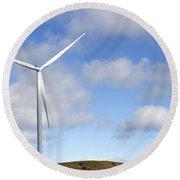 Wind Turbine  Round Beach Towel