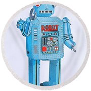 Wind-up Robot Round Beach Towel