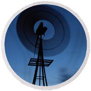 Windlill At Night Round Beach Towel
