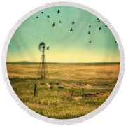 Windmill And Birds Round Beach Towel