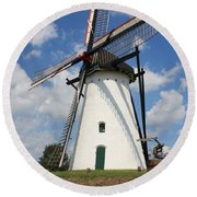 Windmill And Blue Sky Round Beach Towel