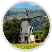 Windmill At Mission Meadows Solvang Round Beach Towel