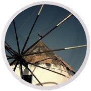 windmill Greece Round Beach Towel by Joana Kruse