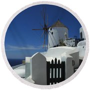 Windmill Greek Islands Round Beach Towel