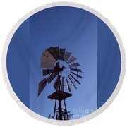 Windmill In Blue  Round Beach Towel