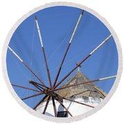Windmill In Santorini Round Beach Towel
