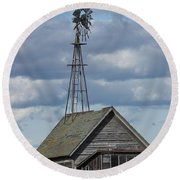 Windmill In The Storm Round Beach Towel