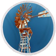 Windmill Rust Orange With Blue Sky Round Beach Towel by Rebecca Margraf