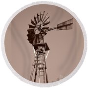 Windmill Sepia Round Beach Towel