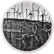 Windmills By Tehachapi  Round Beach Towel by Susanne Van Hulst