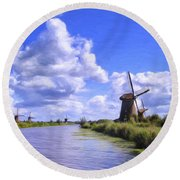 Windmills In Holland Round Beach Towel