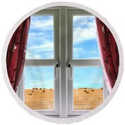 Window And Curtains With View Of Crops  Round Beach Towel