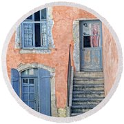 Window And Doors Provence France Round Beach Towel