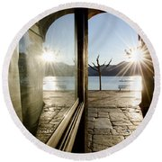 Window And Sun Round Beach Towel