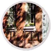 Window Boxes Greenwich Village Round Beach Towel