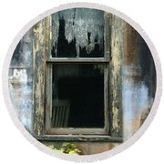 Window In Old Wall Round Beach Towel by Jill Battaglia