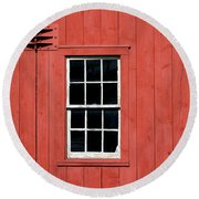 Window In Red Wall Round Beach Towel
