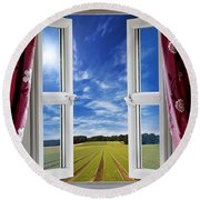 Window View Onto Arable Farmland Round Beach Towel