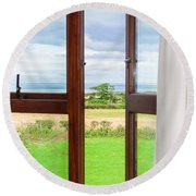 Window View Round Beach Towel
